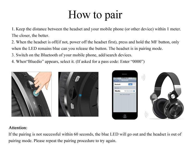 T2+ bluetooth headset pairing