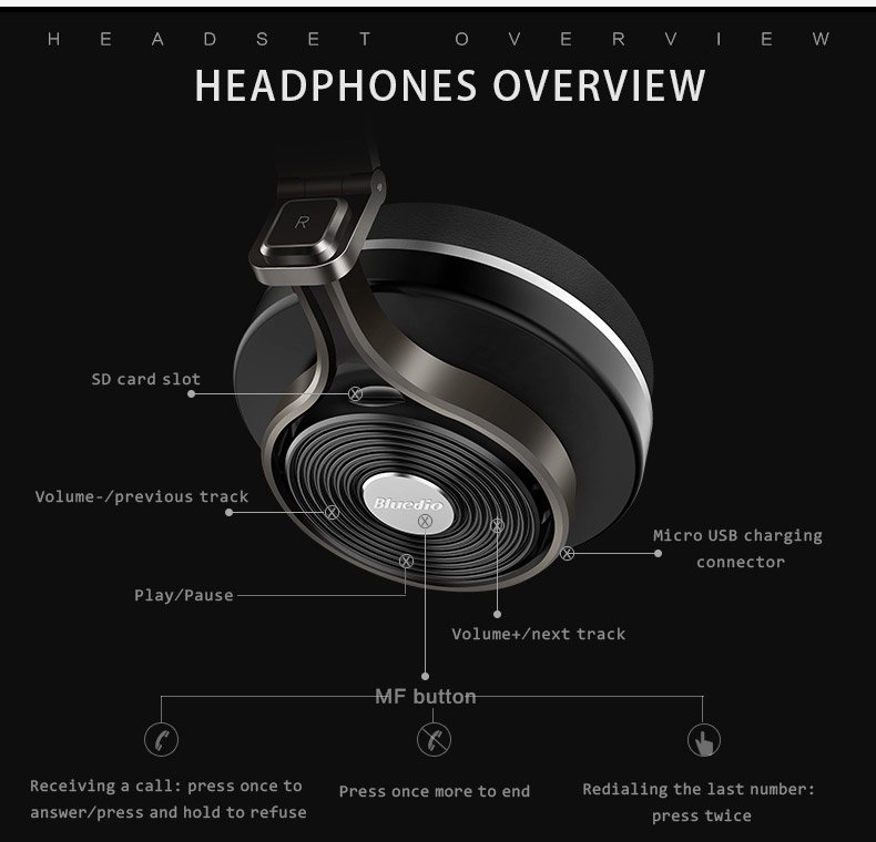 0164bcab258 ... Wireless Stereo Bluetooth Headphones with Mic Support Micro SD Card. Bluedio  T3 Plus bluetooth headphones demonstration
