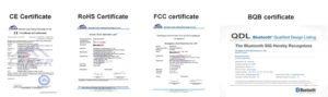 Bluedio product certificates CE, RoHS, FCC, BQB