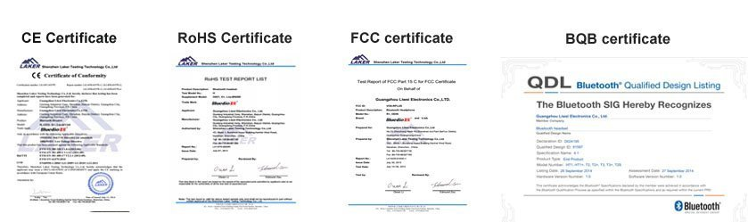 Bluedio product certificates CE, RoHS, FCC, BQB