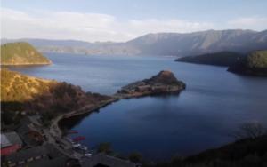 peninsula lying on the crystal lake